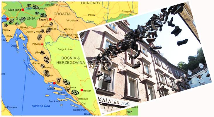 Cartoline-di-seta-scarpe-mappa-slovenia-croazia-bosnia
