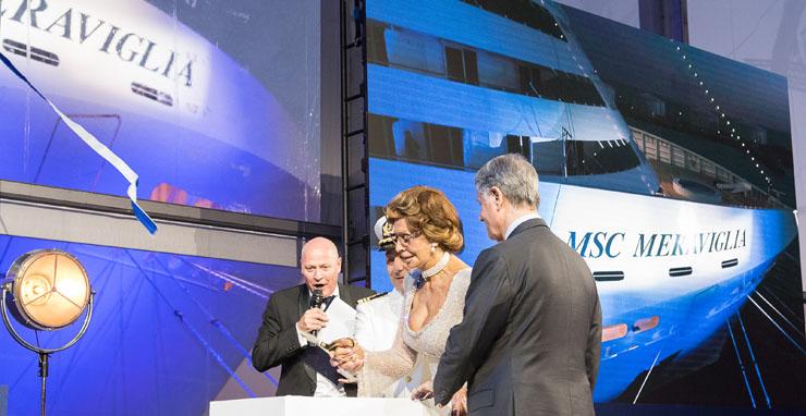 Godmother Sophia Loren cuts the ribbon with MSC Group Executive Chairman Gianluigi Aponte