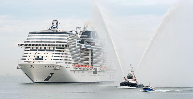 MSC Meraviglia arrives at Le Havre Port to be christened