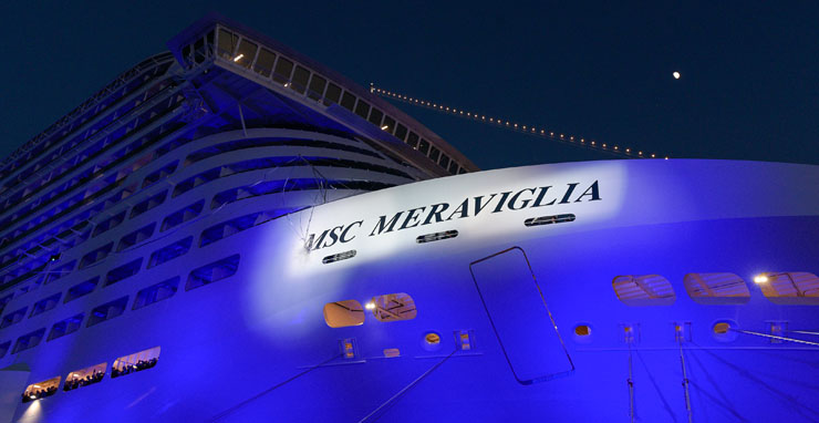 The bottle smashes on the hull to officially christen MSC Meraviglia