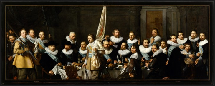 Nicolaes Eliasz. Pickenoy (1591 - 1653), Banquet of civic guardsmen from the company of captain Jacob Backer and lieu