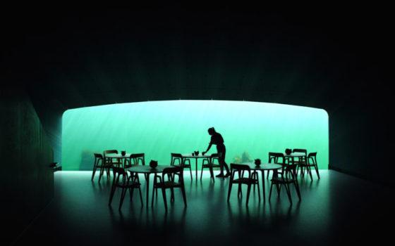 Come un periscopio inabissato, il ristorante offre una vista unica sul fondale grazie alle enormi vetrate (11 metri di larghezza per oltre 3 di altezza) che consentono agli ospiti di connettersi con la natura selvaggia dell'esterno.