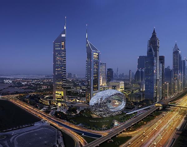 L'anello del Museo del Futuro ai piedi delle due Jumeirah Emirates Towers.